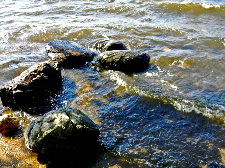 Rocks In Lake.