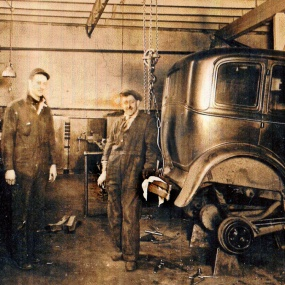 On the right is my paternal grandfather at work in a garage in Somerville, MA.