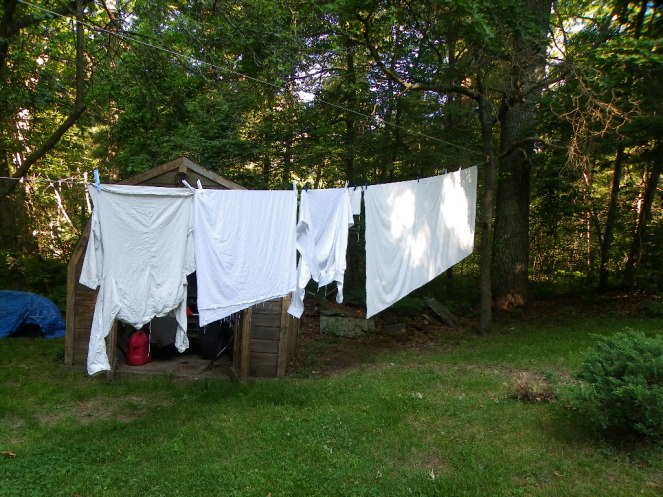 On the line to dry.