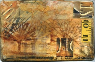 Measuring Up, Encaustic collage on 6x8 canvas panel, $65.