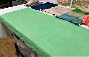 First layer: copper mordanted raw silk blanket
