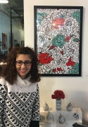 Grace Julian Murthy with her lively Pop Art!