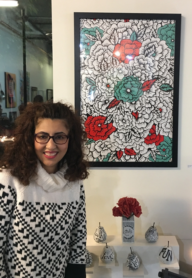 Grace Julian Murthy with her lively Pop Art!