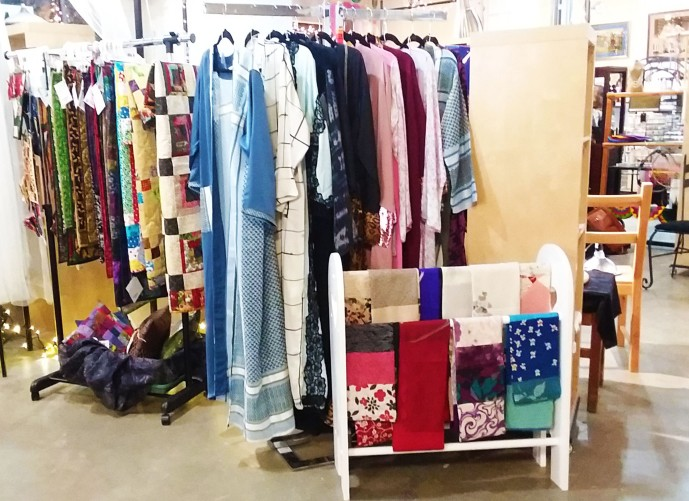 Yvette Chamberland's Vintage Sari Scarves, Rhama's Saris, Kathy's Quilts