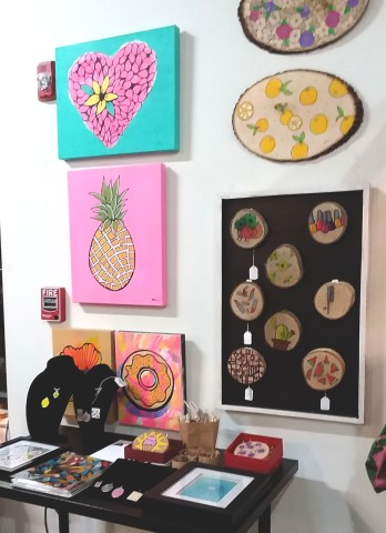 Grace Julian Murthy's Pop Art To Left Upon Entrance